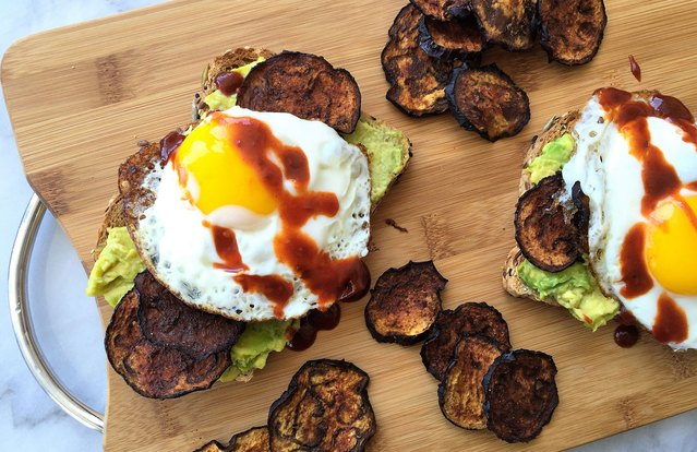 "Sriracha Avocado Toast with Eggplant ""Bacon"" and Egg"