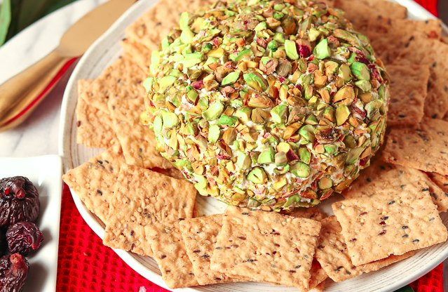 Pistachio-Crusted Rosemary & Fig Goat Cheese Boule