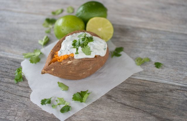 Baked Sweet Potato with Cilantro-Lime Greek Yogurt