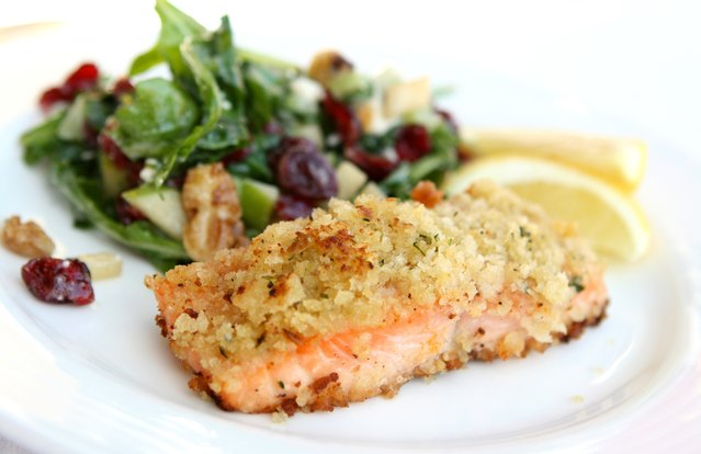 Baked Salmon with Georgia Pecan Herb Crust