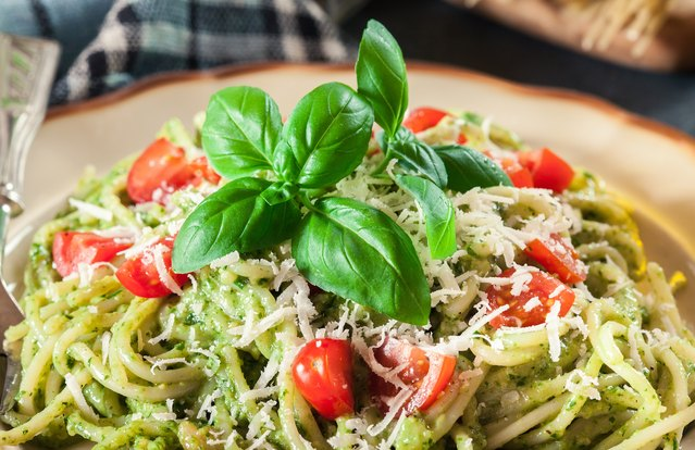 Garden Pesto Linguine (From Leftover Dressed Wilted Salad)