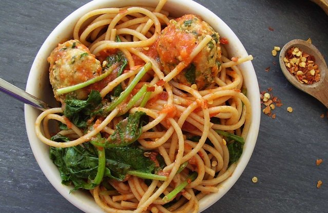Power Pasta Bowl with Turkey-Kale Meatballs
