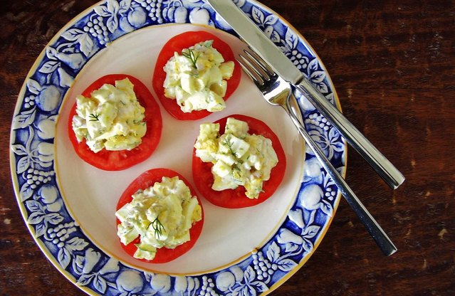 "Egg Salad Tomato ""Bruschetta"""