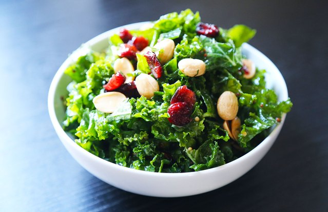 Kale, Dried Cherry and Marcona Almonds Salad