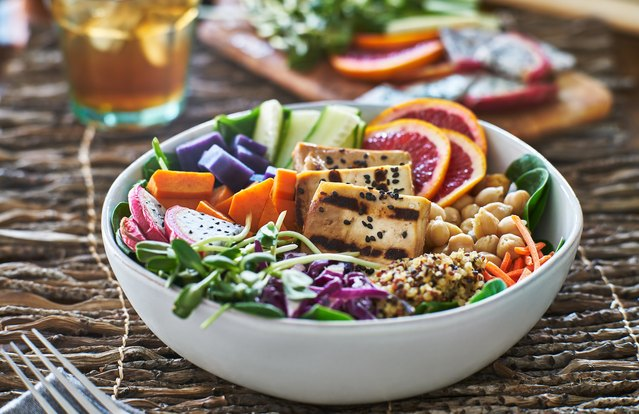 Sweet Potato Buddha Bowl With Curry Pecan Dressing