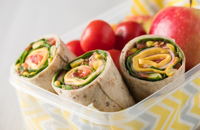 Greens, Fruit and Chickpea Wrap