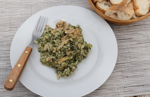 Pesto Chicken Farro Risotto