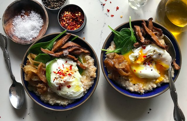 Savory Oatmeal with Shiitake Mushrooms, Spinach and Poached Eggs