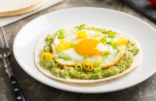 Guacamole and Egg Soft Tacos
