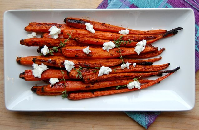 Honey and Herb Roasted Carrots with Goat Cheese
