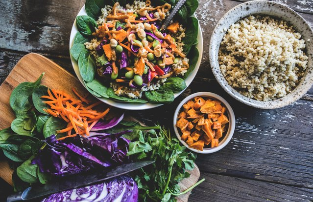 Crunchy Quinoa Buddha Bowl with Ginger-Almond Dressing