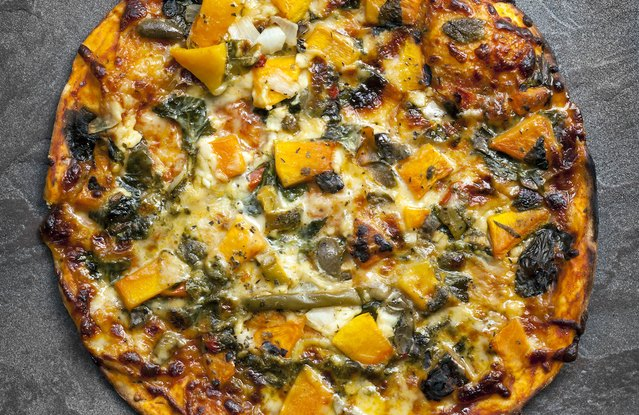 Spicy Squash, Greens & Turkey Sausage Pizza