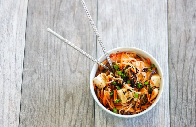 Shirataki Noodle and Tofu Bowl With Kimchi