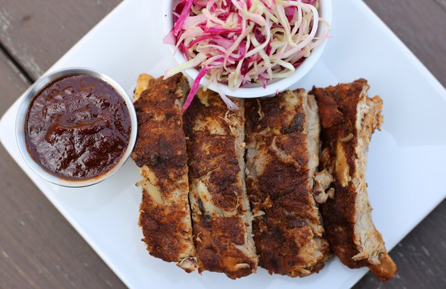 Under-an-Hour Instant Pot BBQ Baby Back Ribs with Vinegar Slaw