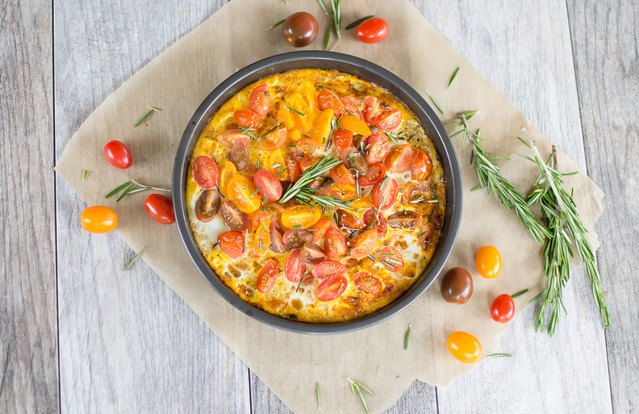 Broiled Heirloom Tomato & Rosemary Frittata