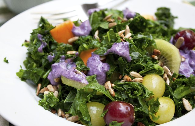 Kale Fruit Salad With Blueberry Dressing