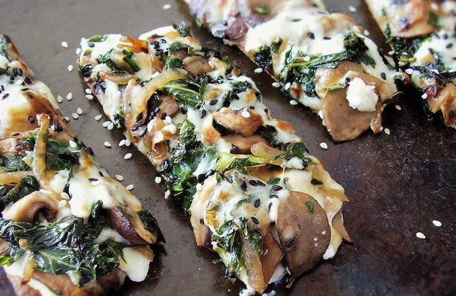 Kale and Wild Mushroom Flatbread Pizza