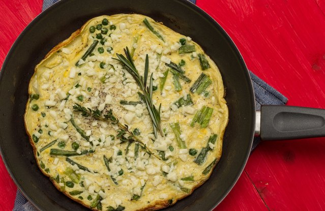Spring Frittata With Artichokes, Peas, Green Onions and Goat Cheese
