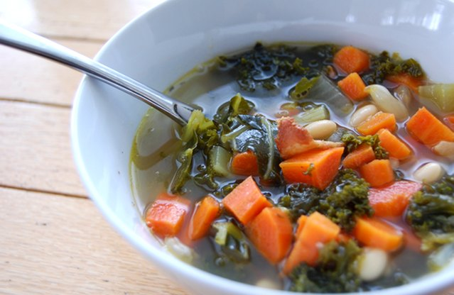 Kale, Bacon & White Bean Soup