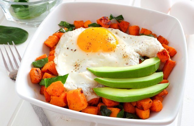 Sweet Potato, Egg and Avocado Hash