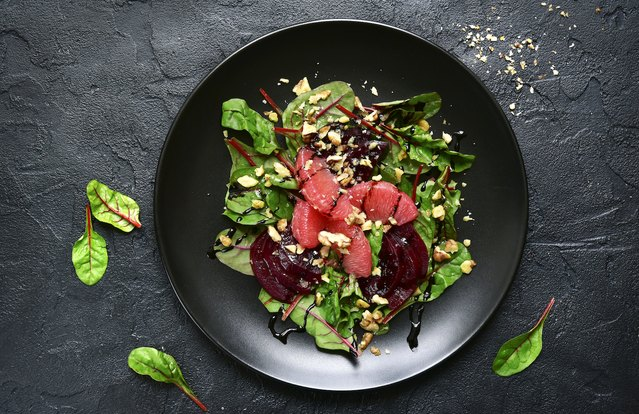 Beet-Grapefruit-Walnut Salad With Mint Dressing