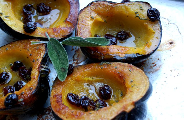 Acorn Squash with Honey Butter and Dried Cherries