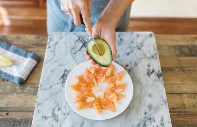 Salmon Sashimi Platter with Avocado and Grapefruit