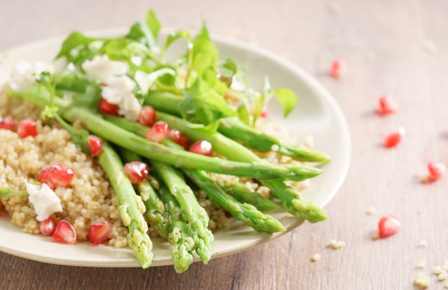 Ginger Glazed Asparagus And Toasted Quinoa
