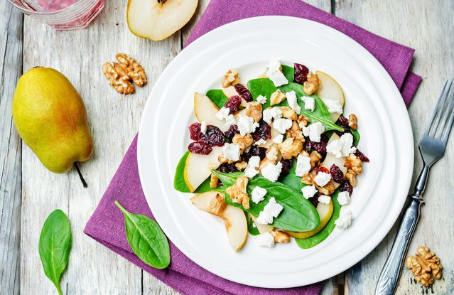 Broiled Pear and Goat Cheese Salad