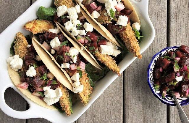 Oven-Crisped Avocado Tacos with Spicy Beet Pico de Gallo