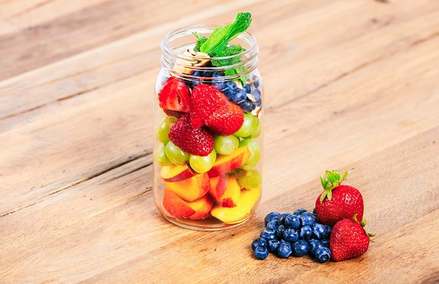 Citrus Mint-Glazed Fruit Mason Jar Salad