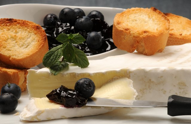 Camembert and Wild Blueberry Jam Crostini