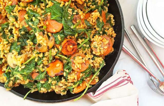 "Kale, Baby Bella and Caramelized Carrot ""Risotto"" Skillet"