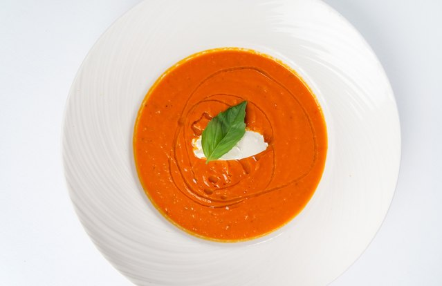Homemade Tomato Soup with Mascarpone Cheese and Basil