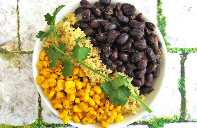 Vegan Couscous Verde Bowl With Black Beans and Corn