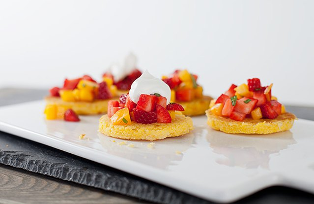 Colombian Sweet Corn Arepas with Strawberry Salsa