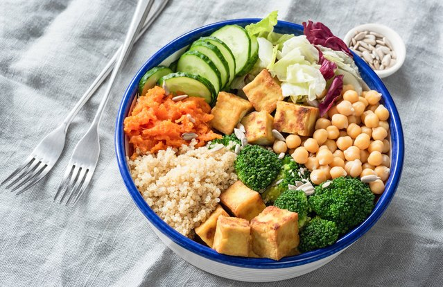 Glorious Tofu Buddha Bowl with Creamy Soy Dressing