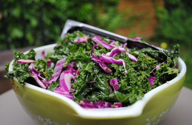 Pesto Kale and Cabbage Salad