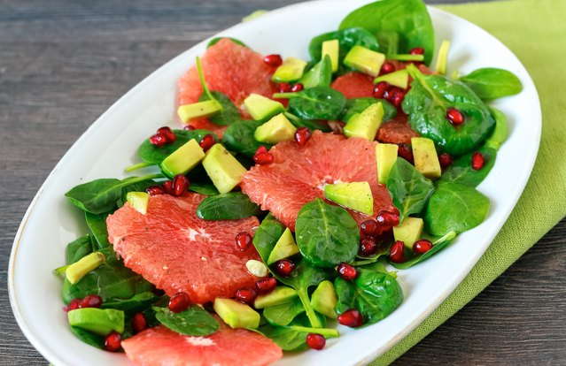 Spinach Salad with Avocado and Grapefruit Dressing