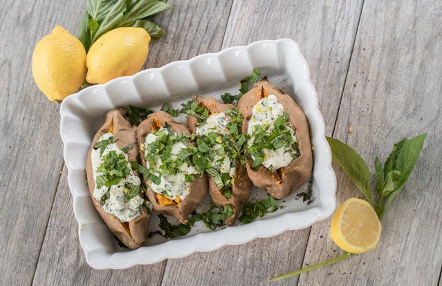 Lemon Ricotta Baked Sweet Potato
