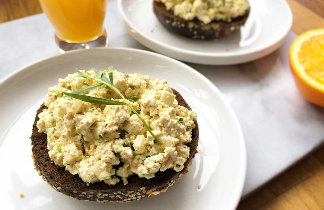 "Open-Face ""Egg Salad"" on Pumpernickel Bagel"