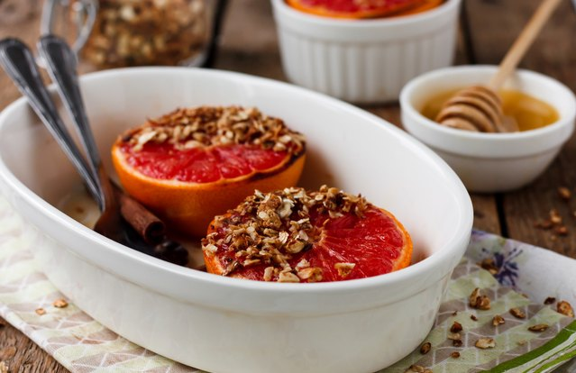Granola and Red Grapefruit Brulee