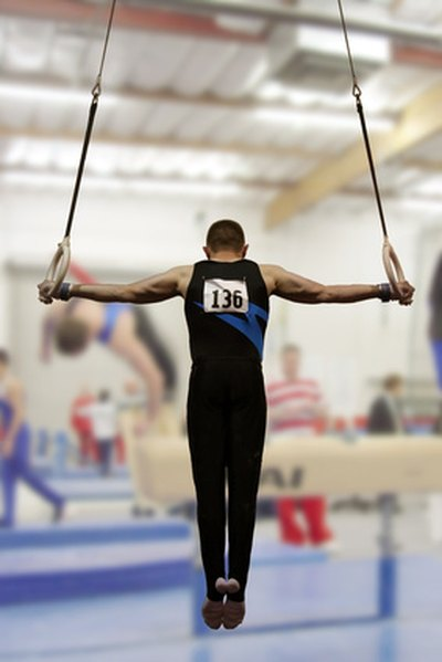 Gymnasts may overstretch and strain the rotator cuffs around the shoulder.