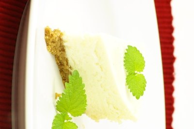 Fresh mint can be used to accent a cheesecake.
