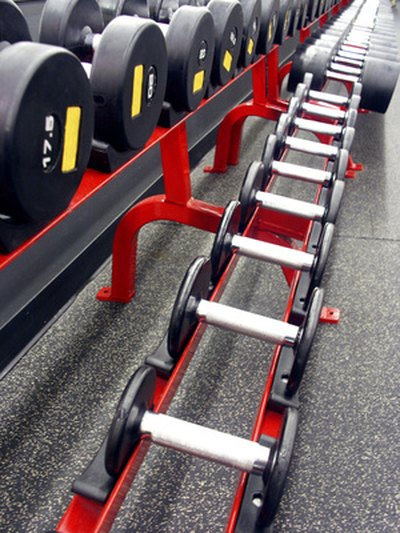 A rack of barbells