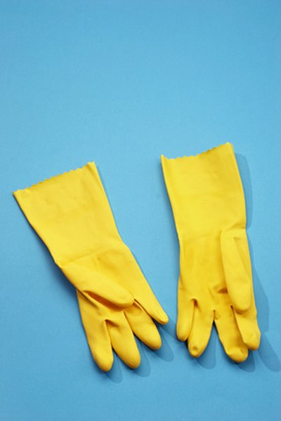Rubber gloves protect nails from the drying effects of harsh cleansers and hot water.