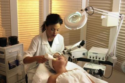 Woman with a dermatologist.