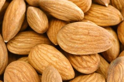A close-up of almonds.