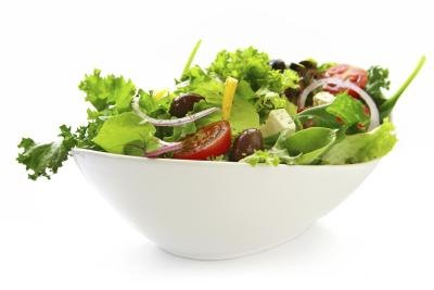Close up of a fresh bowl of salad.