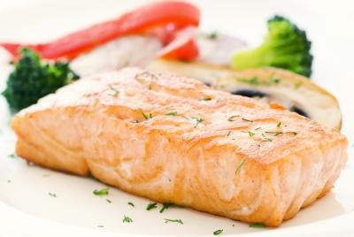 Salmon contains high amounts of selenium.